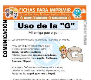 Ficha de Uso de la G Segundo de Primaria