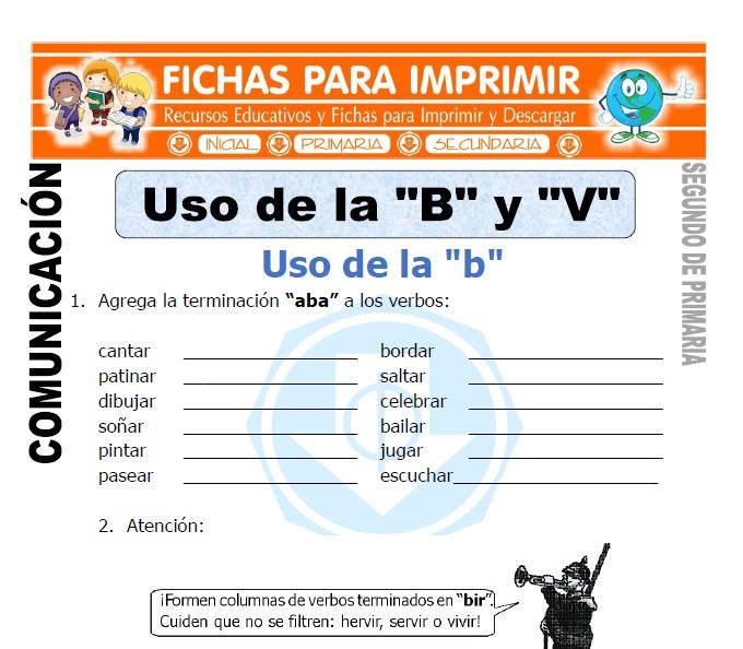 Ficha de Uso de la b y v Segundo de Primaria