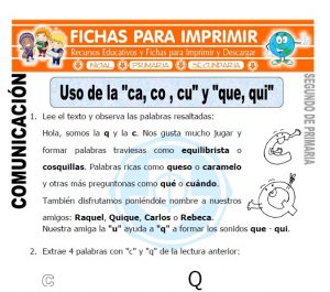 Ficha de Uso de la ca co cu y que qui Segundo de Primaria
