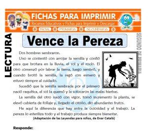 Ficha de Vence la Pereza Segundo de Primaria