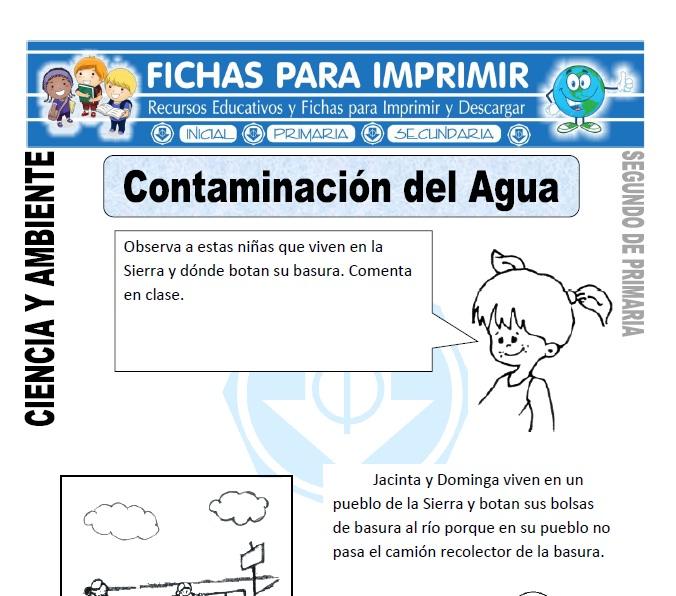 Ficha de contaminacion del agua Segundo de Primaria