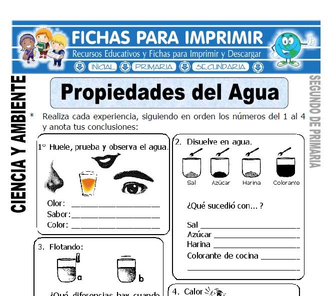 Ficha de propiedades del agua Segundo de Primaria