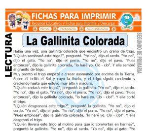 ficha de La Gallinita Colorada para Niños de Segundo de Primaria