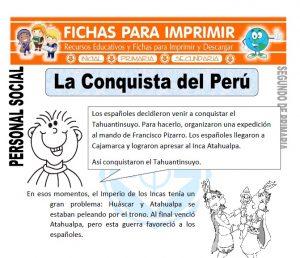 Ficha de La Conquista del Peru para Segundo de Primaria