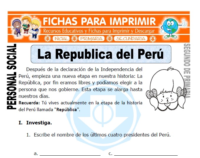 Ficha de La Republica Perú para Segundo de Primaria