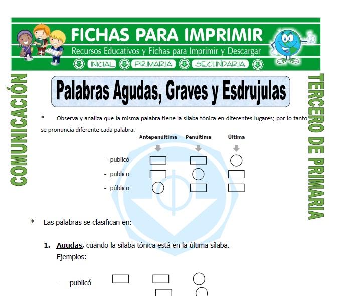ficha de Agudas, Graves y Esdrujulas para Tercero de Primaria