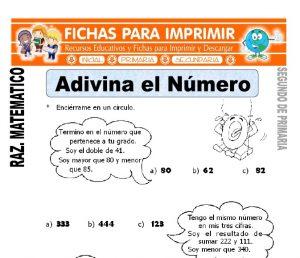 ficha de Adivina el Número para Segundo de Primaria