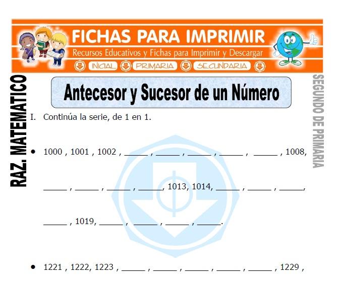 Antecesor y Sucesor de un Número para Segundo de Primaria