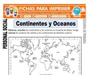 Oceanos y Continentes para Segundo de Primaria