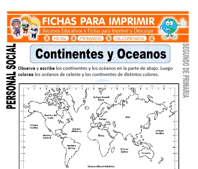 ficha de Oceanos y Continentes para Segundo de Primaria