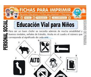 ficha de educacion vial para niños segundo de primaria