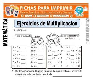 Ejercicios de Multiplicación para Segundo de Primaria