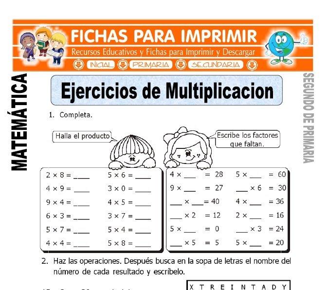 Ejercicios de Multiplicación para Segundo de Primaria ...