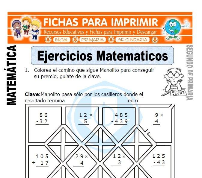 ficha de ejercicios matematicos segundo de primaria