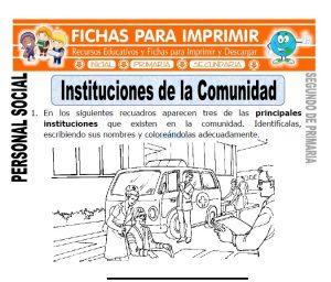 ficha de instituciones de la comunidad segundo de primaria