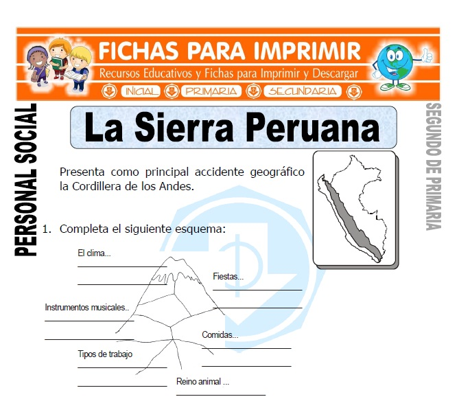 ficha de la sierra peruana segundo de primaria