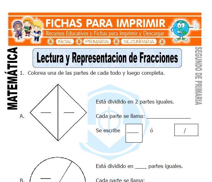 ficha de lectura de fracciones segundo de primaria