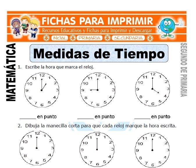ficha de medidas de tiempo segundo de primaria