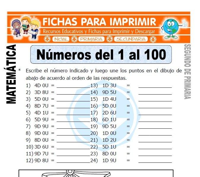 ficha de numeros del 1 al 100 segundo de primaria