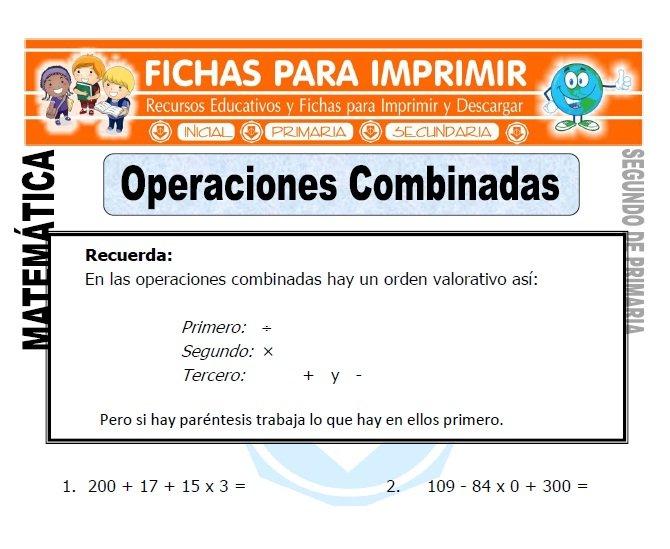 ficha de operaciones combinadas ejercicios segundo de primaria