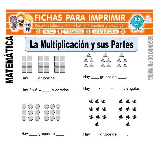 ficha de partes de la multiplicacion segundo de primaria