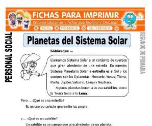 Planetas del Sistema Solar para Segundo de Primaria