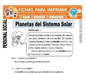 ficha de Planetas del Sistema Solar para Segundo de Primaria
