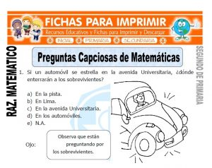 ficha de Preguntas Capciosas de Matemáticas para Segundo de Primaria
