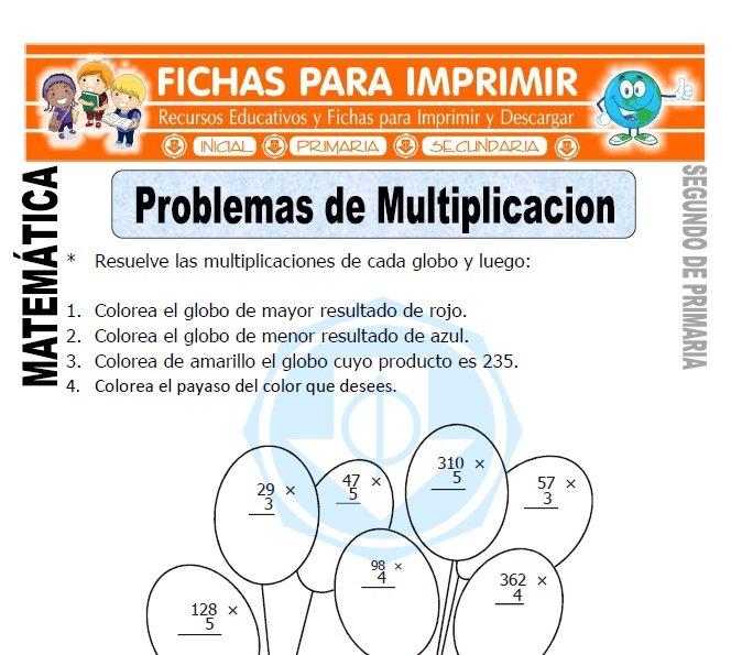 Problemas de Multiplicación para Segundo de Primaria - Fichas Gratis