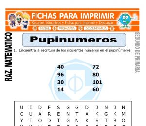 ficha de Pupinumeros para Segundo de Primaria