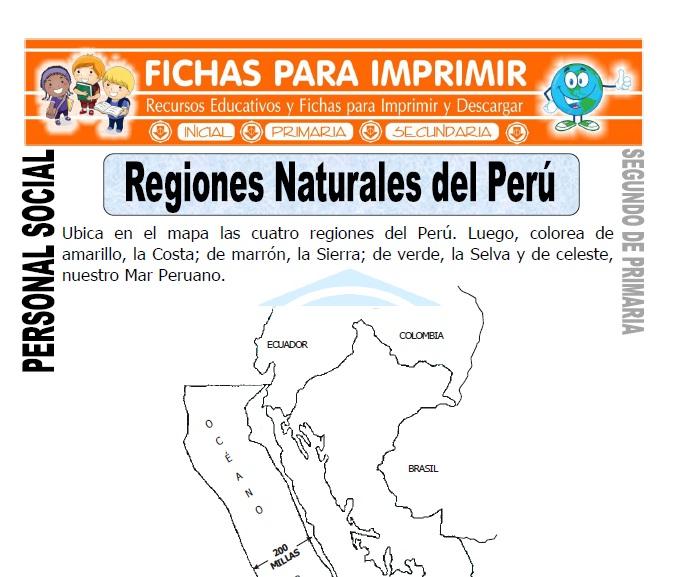 ficha de regiones naturales del perú segundo de primaria