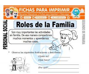 ficha de roles de la familia segundo de primaria