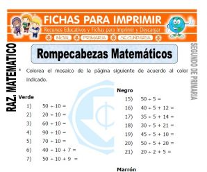 Rompecabezas Matematico para Segundo de Primaria