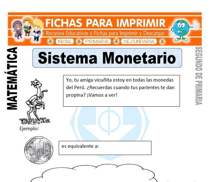 ficha de sistema monetario segundo de primaria
