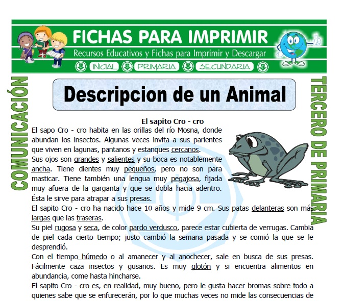 ficha de Descripcion de un Animal para Tercero de Primaria