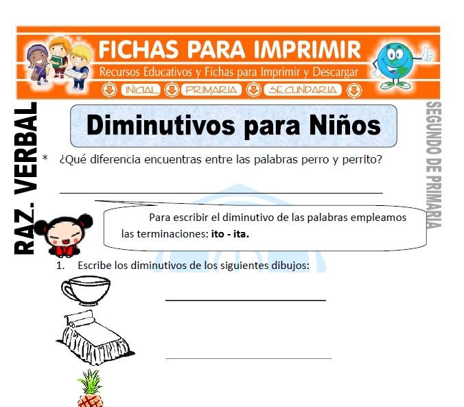 ficha de Diminutivos para Niños para Segundo de Primaria