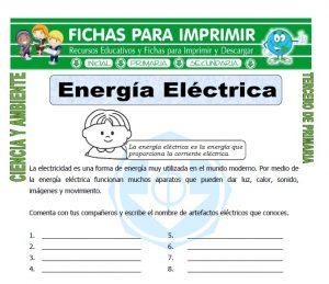 ficha de Energia Electrica para Tercero de Primaria