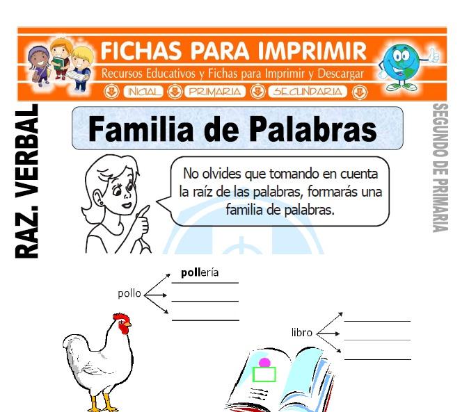 ficha de Familia de Palabras para Segundo de Primaria