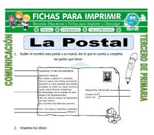 ficha de La Postal para Tercero de Primaria