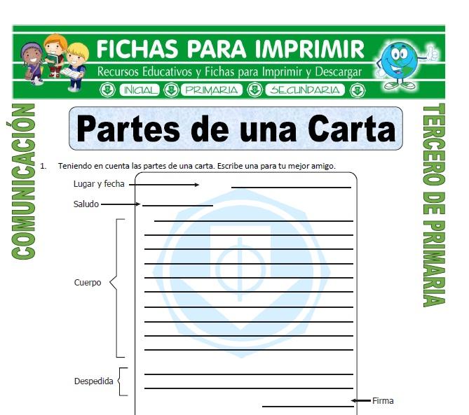 ficha de Partes de una Carta para Tercero de Primaria