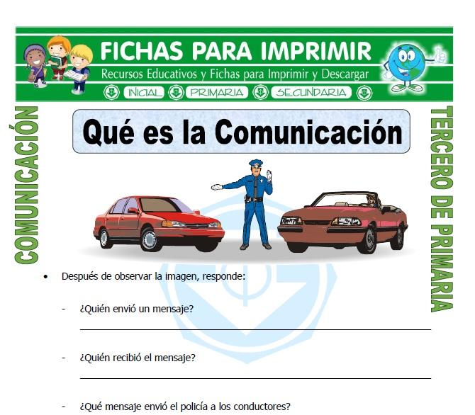 ficha de Qué es la Comunicación para Tercero de Primaria