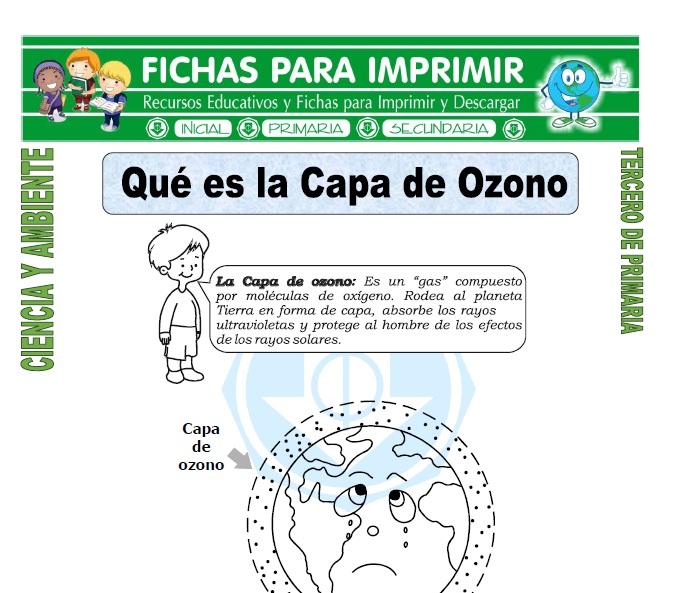ficha de Que es la Capa de Ozono para Tercero de Primaria