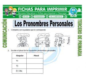ficha de Que son los Pronombres Personales para Tercero de Primaria