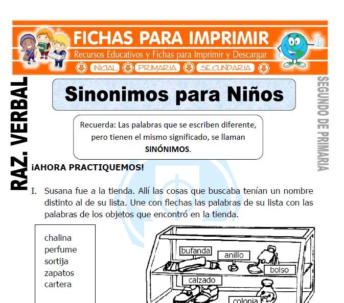 Sinonimos para Niños para Segundo de Primaria - Fichas ... - photo#2