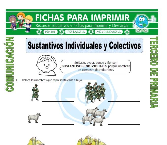 ficha de Sustantivos Individuales y Colectivos para Tercero de Primaria