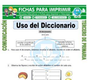 ficha de Uso del Diccionario para Tercero de Primaria