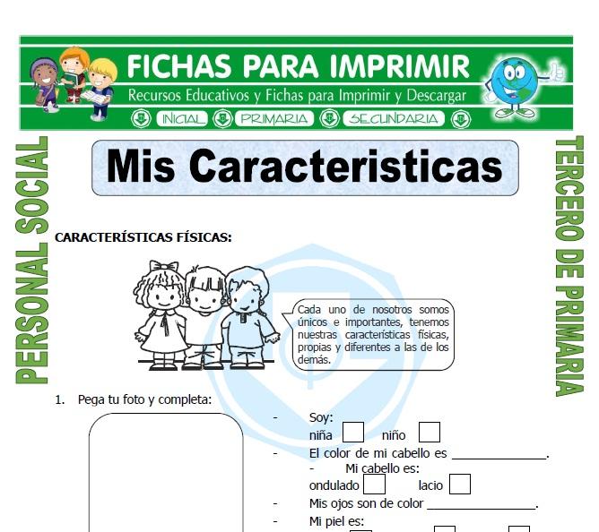 Ficha de Caracteristicas de una Persona para Tercero de Primaria