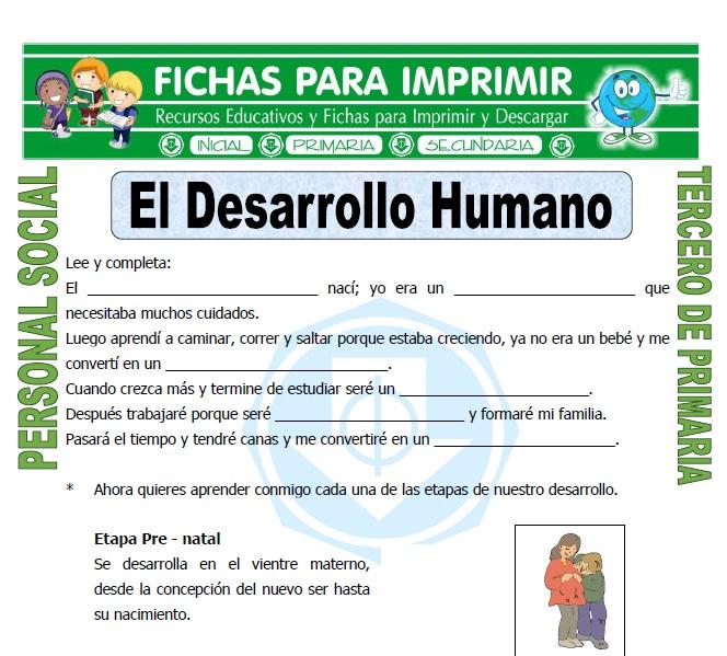 Ficha de Desarrollo Humano para Tercero de Primaria