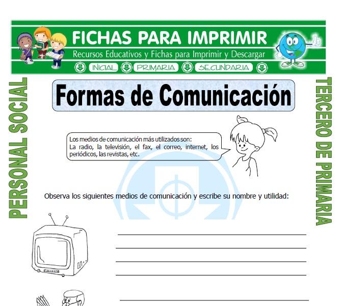 Ficha de Funcion de los Medios de Comunicacion para Tercero de Primaria