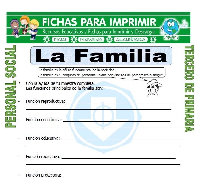 Ficha de La Familia para Tercero de Primaria